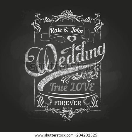Chalk drawing.Wedding decorations - stock vector