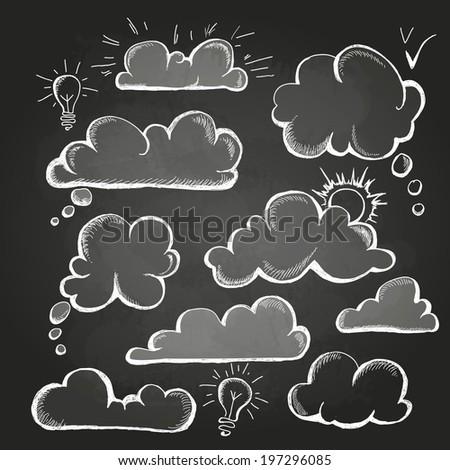 chalk drawings. Set of speech  bubble. Cloud - stock vector
