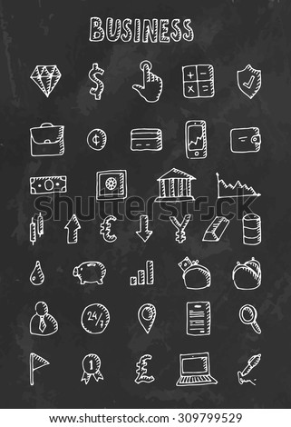 Chalk drawn icon set business theme on blackboard. Vector illustration