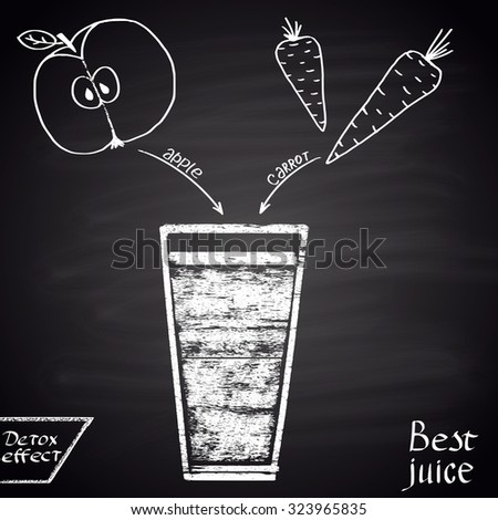 Chalk  drawn illustration of juice with apple and carrot. Infographic. Fitness theme. Best juice series. - stock vector