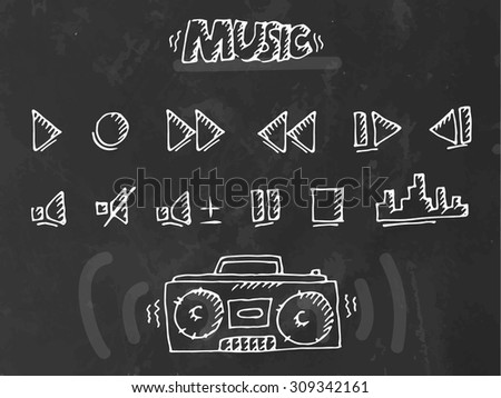 Chalk drawn music play buttons set. Vector illustration  - stock vector