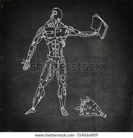 Chalk drawn robot read a book. Vector illustration - stock vector