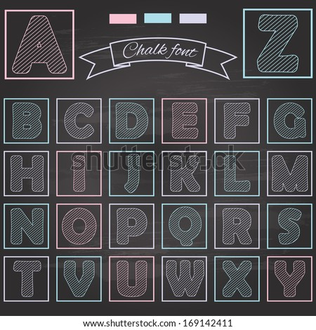 Chalk font, drawn by colored chalk on retro chalkboard background.  - stock vector