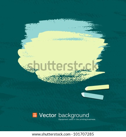 Chalk green and blue pastel space for text on blackboard. vector illustration - stock vector