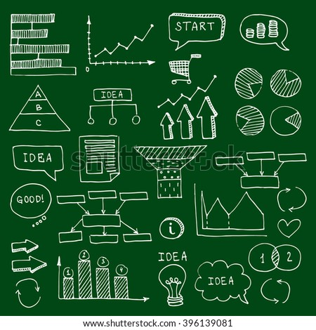 Chalk green school board  hand drawn doodle business timeline element  Infographic. Business projects templates for presentation, training. Editable Graphic infographics elements. Vector illustration. - stock vector