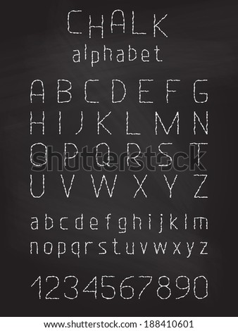 Chalk grunge font vector white alphabet stock vector for Blackboard with white removable letters