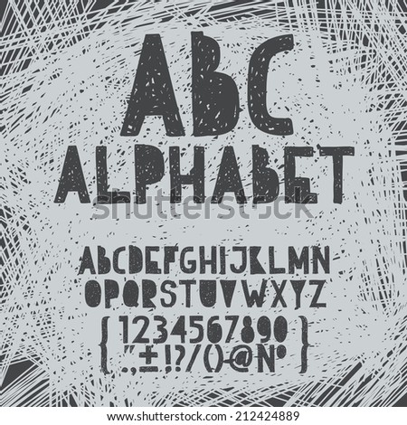 Chalk hand draw doodle abc, alphabet grunge scratch type font vector illustration - stock vector