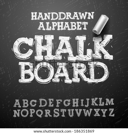 Chalk hand drawing alphabet, vector illustration.  - stock vector