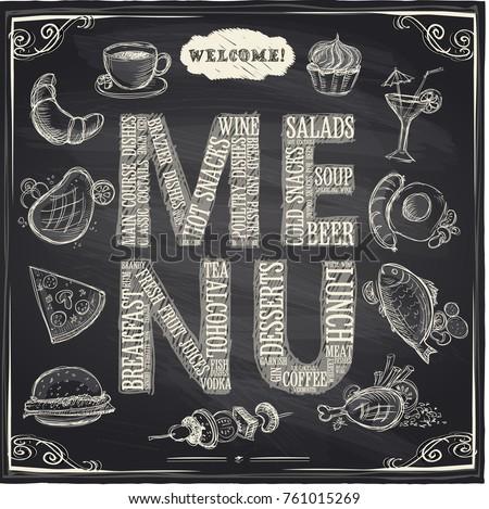 chalk hand drawn menu board with hand drawn food symbols