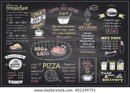 Chalk menu list blackboard design for cafe or restaurant, breakfast and lunch, fast-food and pizza, grill menu, drinks,  mock up - stock vector