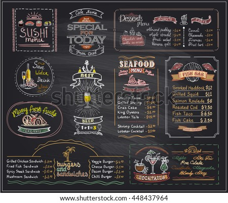 Chalk Menu List Blackboard Designs Set Stock Vector