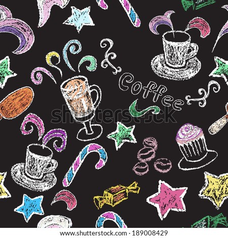 Chalk on board. Cup of coffee. Vector illustration. Seamless pattern. - stock vector