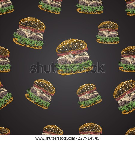 Chalk painted colorful illustration of cheeseburger. Seamless pattern. - stock vector