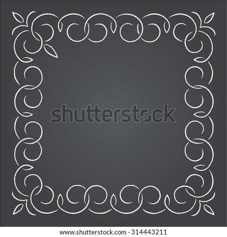 Chalk retro graphic line elements, dividers and monogram frame on a blackboard, Part 3 - stock vector