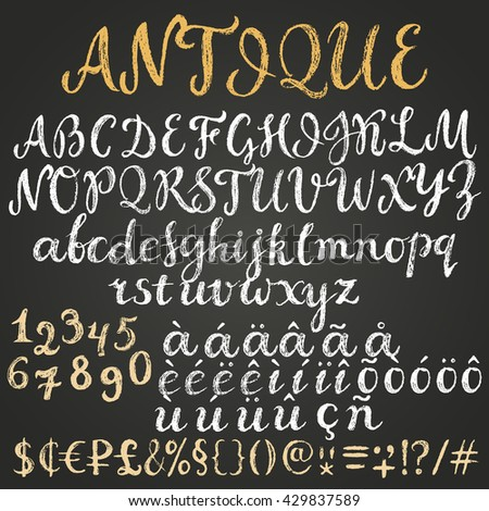 Chalk script latin alphabet containing uppercase, lowercase letters, numbers, special symbols, money signs and some diacritics. - stock vector