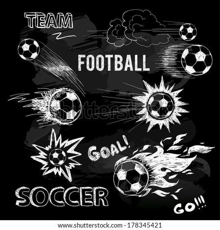 Chalk sketch of football ball and elements. Vector doodle - stock vector