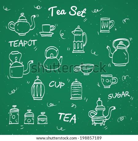 Chalk tea collection - stock vector