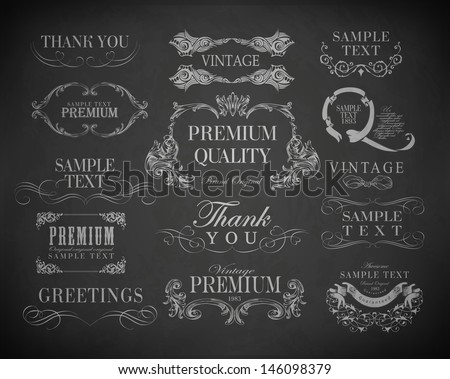 Chalk  typography, calligraphic design elements, page decoration and labels of drawing with chalk on blackboard - stock vector