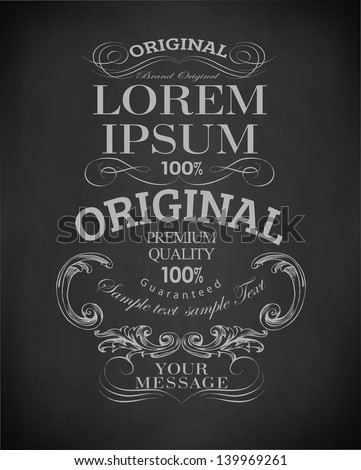 Chalk  typography, calligraphic, page decoration and labels of drawing with chalk on blackboard/ vector set - stock vector