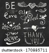 Chalk wedding and Valentine's day elements: doodle floral ornaments, hand drawn lettering, hearts and arrow on chalkboard background - stock vector