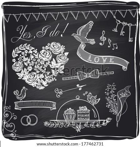 Chalk wedding hand drawn graphic set on a chalkboard. Eps10. - stock vector