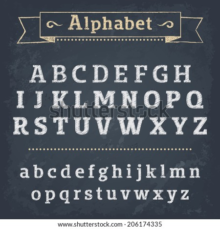 Chalkboard Alphabet. Vector illustration - stock vector