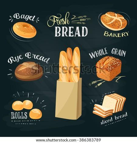 Chalkboard bakery ADs set: bagel / bread / rye bread / ciabatta / wheat bread / whole grain bread / sliced bread / french baguette / croissant. Stylish bakery goods template. Vector illustration. - stock vector