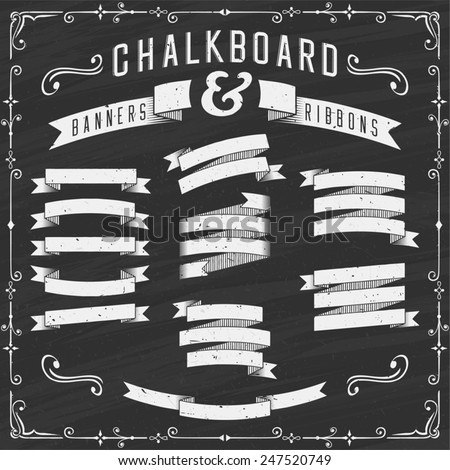 Chalkboard Banners, Ribbons and Design Elements - Illustration. Chalkboard design elements. Each element is grouped in a separate layer. No gradients, no transparency effects. - stock vector