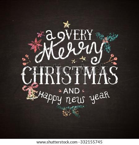 Chalkboard christmas lettering - stock vector