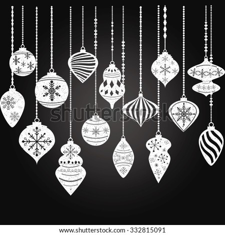 Chalkboard Christmas Ornaments,Christmas Balls Decorations,Christmas Hanging Decoration set. - stock vector
