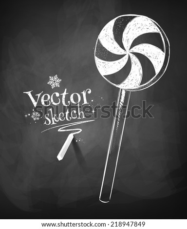 Chalkboard drawing of  candy. Vector illustration. Isolated. - stock vector