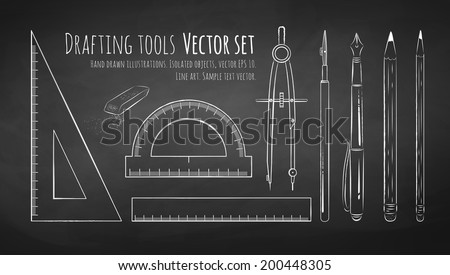 Chalkboard drawing of drafting tools. Vector set. Isolated. - stock vector