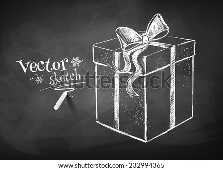 Chalkboard drawing of gift box. Vector illustration. Isolated. - stock vector