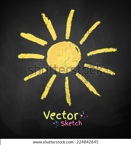 Chalkboard drawing of sun. Vector illustration. Isolated. - stock vector