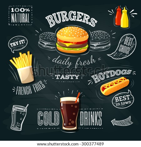 Chalkboard fastfood ADs - hamburger, french fries and hotdog. Vector illustration, eps 10. - stock vector