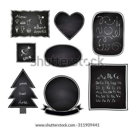 Chalkboard frames set, arrow set, made of chalk texture and a doodle font. Vector illustration. - stock vector