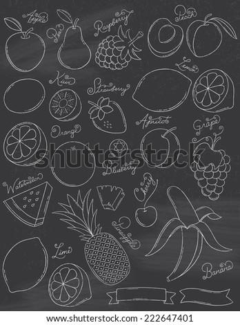 Chalkboard Fruits - stock vector