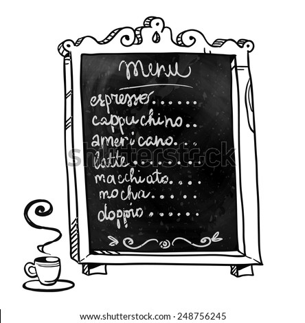 Chalkboard. Hand drawn. Coffee shop menu. Vector signboard.  - stock vector