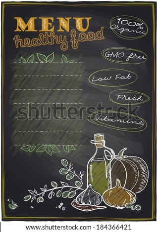 Chalkboard healthy food menu background with place for text. Eps10 - stock vector