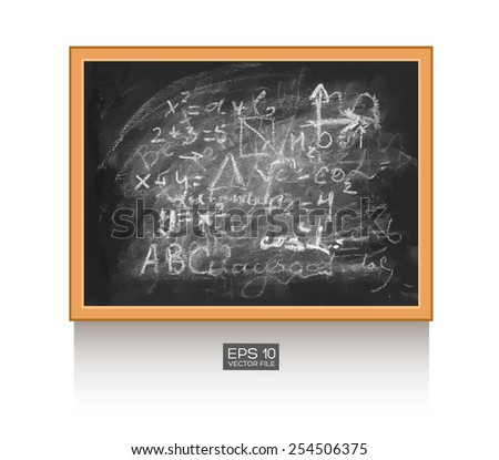 Chalkboard isolated on white wall with mathematical formula. Vector illustration. Texture background, wood, wooden frame. - stock vector