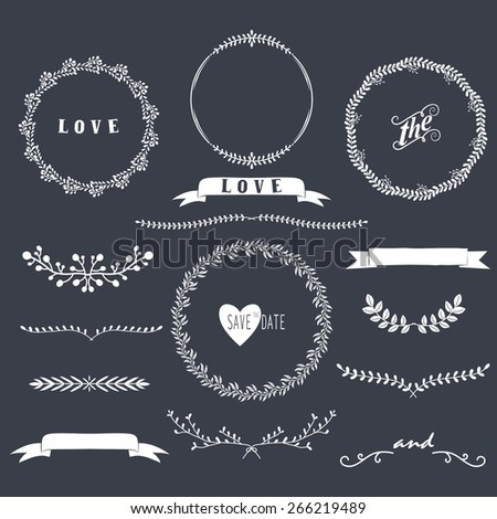 Chalkboard Laurels Collections - stock vector