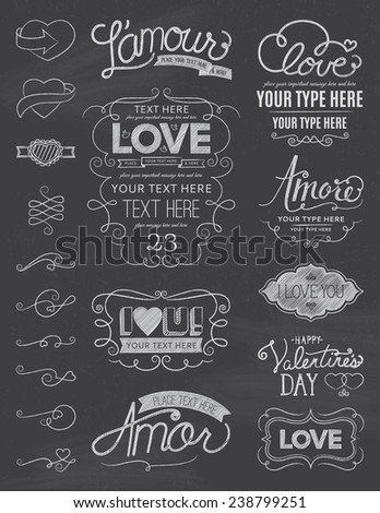 Chalkboard Love Design Elements - stock vector
