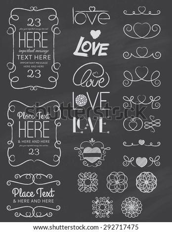 Chalkboard Love Design Elements Two - stock vector