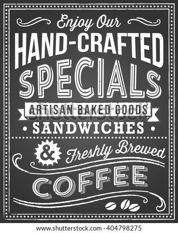 Chalkboard Menu Background - Retro and hand-drawn vintage chalkboard background.  File is layered, and each object is grouped separately for easy editing.  Texture can be removed. - stock vector