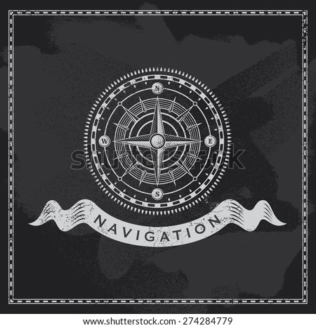 Chalkboard nautical shipping compass. Vintage wind rose vector design