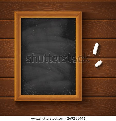 Chalkboard on a wooden background - stock vector