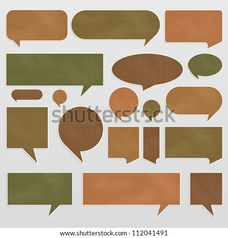 Chalkboard organic ecology speech bubbles and balloons illustration collection background vector - stock vector
