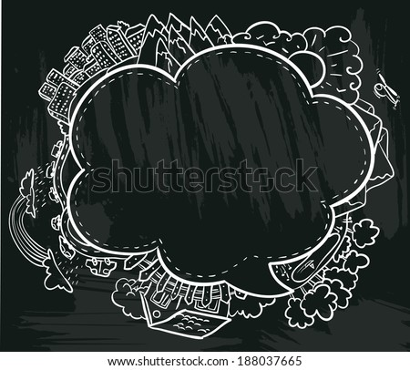 chalkboard poster abstract summer frame - stock vector