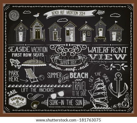 Chalkboard Poster Beach Huts - Blackboard advertisement for summer vacation and beach huts, with banners, labels, swirls and decorative chalk typography - stock vector