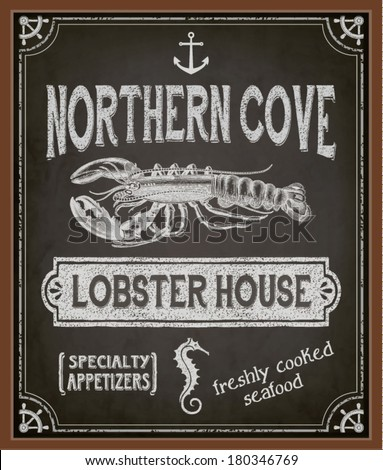 Chalkboard Poster for Seafood Restaurant - Colorful blackboard advertisement for seafood restaurant, with lobster, seahorse, anchor and special offers - hand drawn, chalks, vintage style marketing - stock vector